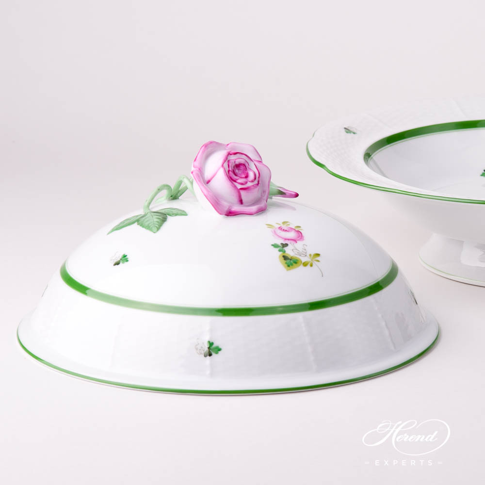Vegetable Dish w. Rose Knob 38-0-09 VRH Vienna Rose / Viennese Rose Green pattern. Herend Fine china hand painted