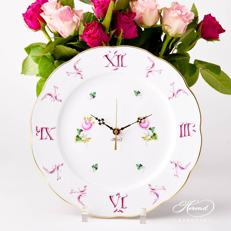 Wall Clock 527-0-47 VRHS Vienna Rose / Viennese Rose pattern. Herend Fine china hand painted. Battery powered