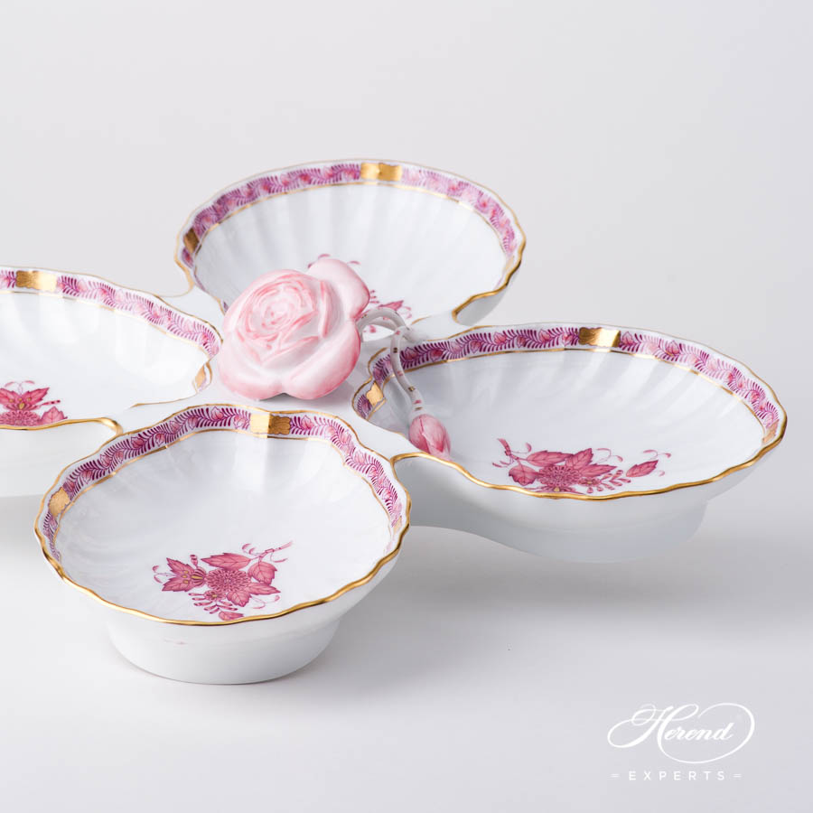 Fancy Dish w. Rose Handle 7532-0-09 AP2 Chinese Bouquet Light Raspberry / Apponyi Light Purple design. Herend fine china