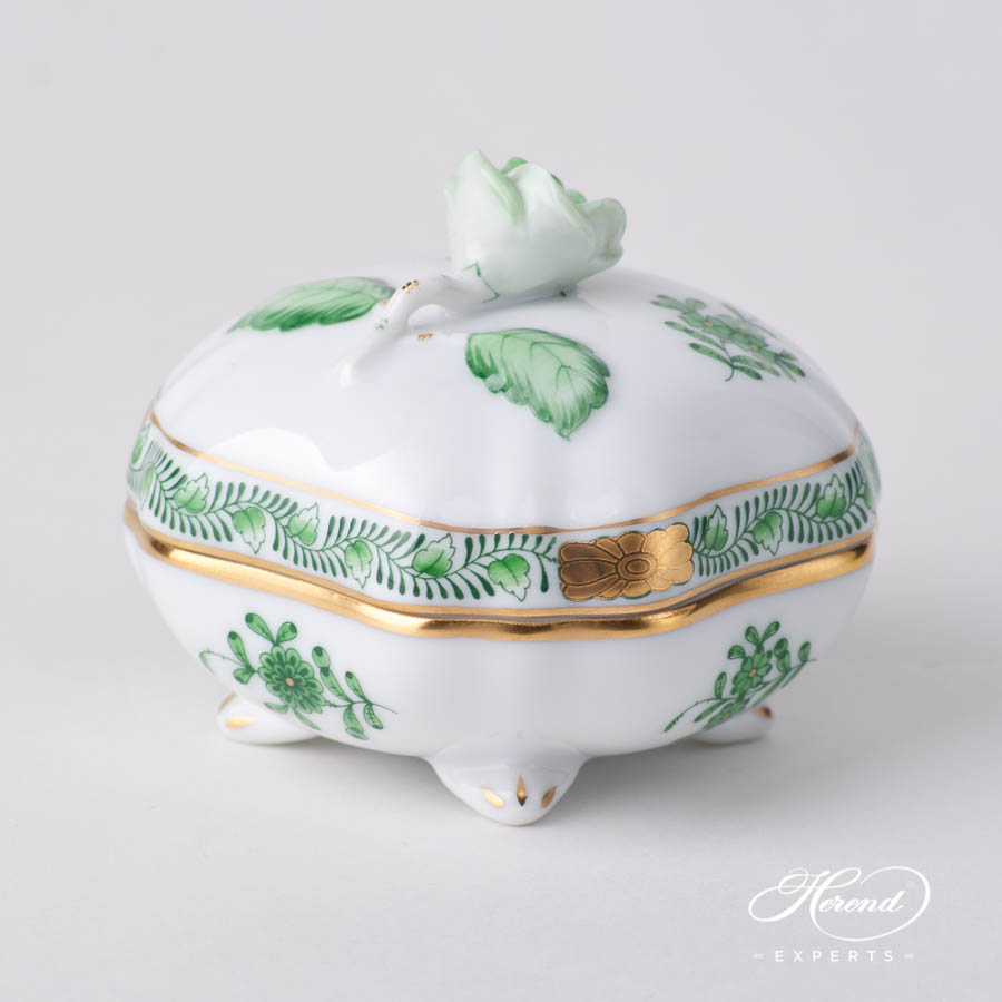 Fancy Box w.Rose Knob 6179-0-09 AV Green pattern. Herend fine china hand painted. Ornaments