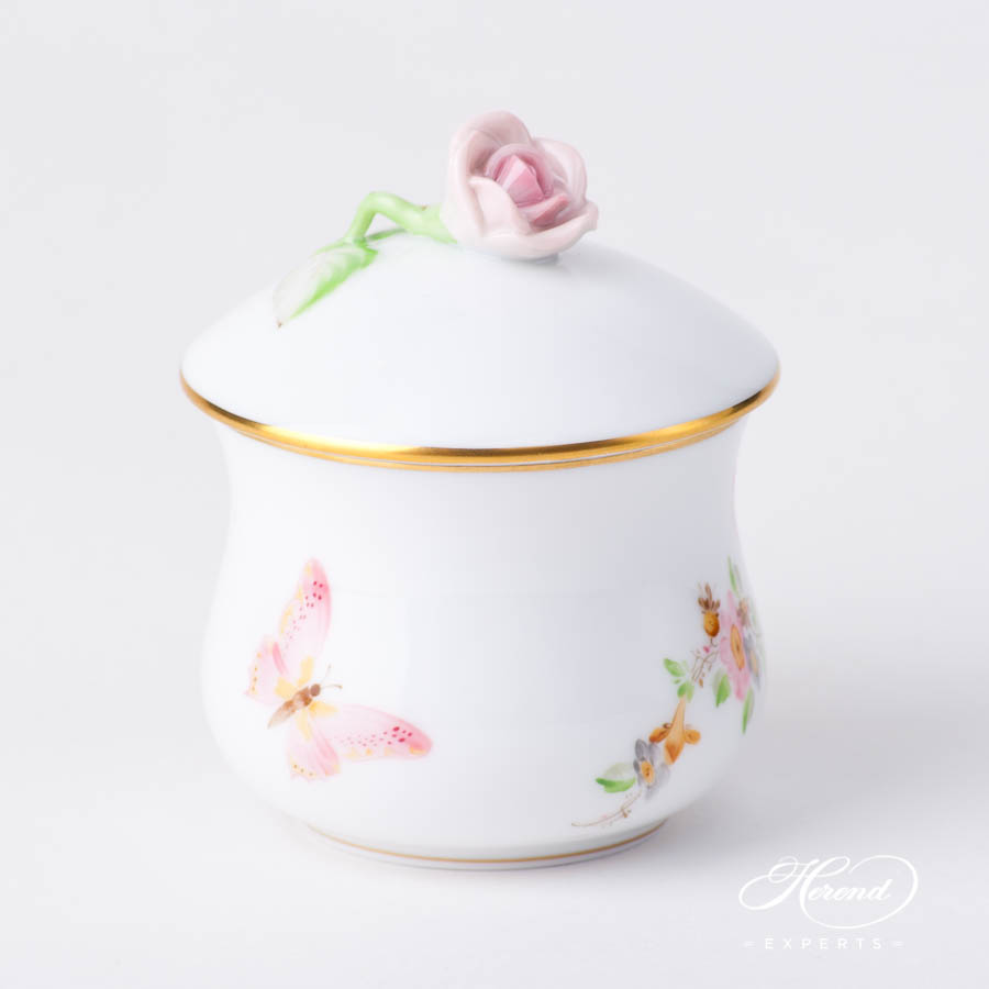 Cream Cup w. Rose Knob 2385-0-91 EDENP Eden Pink pattern. Herend fine china hand painted. Classical style tableware
