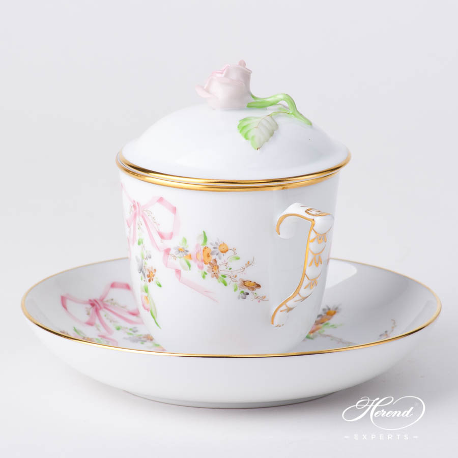Universal Cup w. Rose Knob 20705-0-00 EDENP Eden Pink pattern. Herend fine china hand painted. Classical style tableware