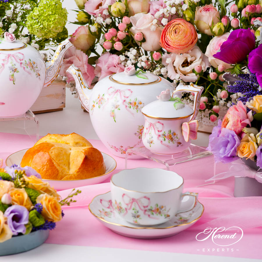 Tea Set - Herend Eden Pink EDENP pattern. Herend fine china hand painted. Classical style tableware. Herend EDEN pattern in pink colour version