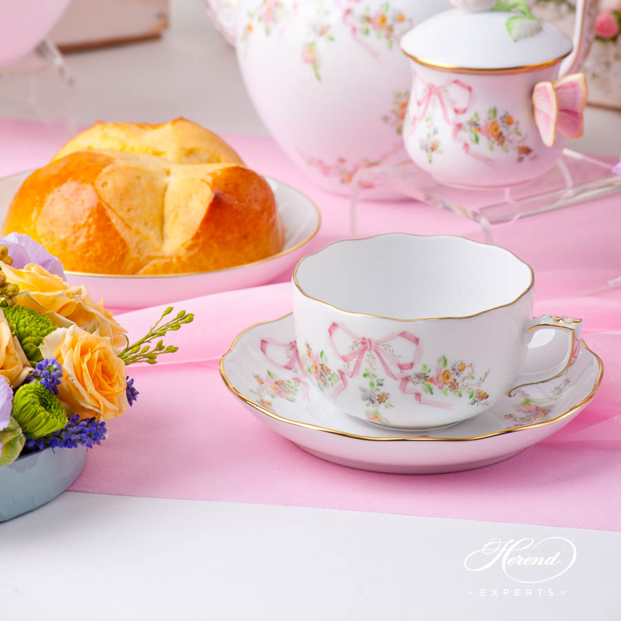 Tea Cupand Saucer 20724-0-00 EDENP Eden Pink pattern. Herend fine china hand painted. Classical style tableware