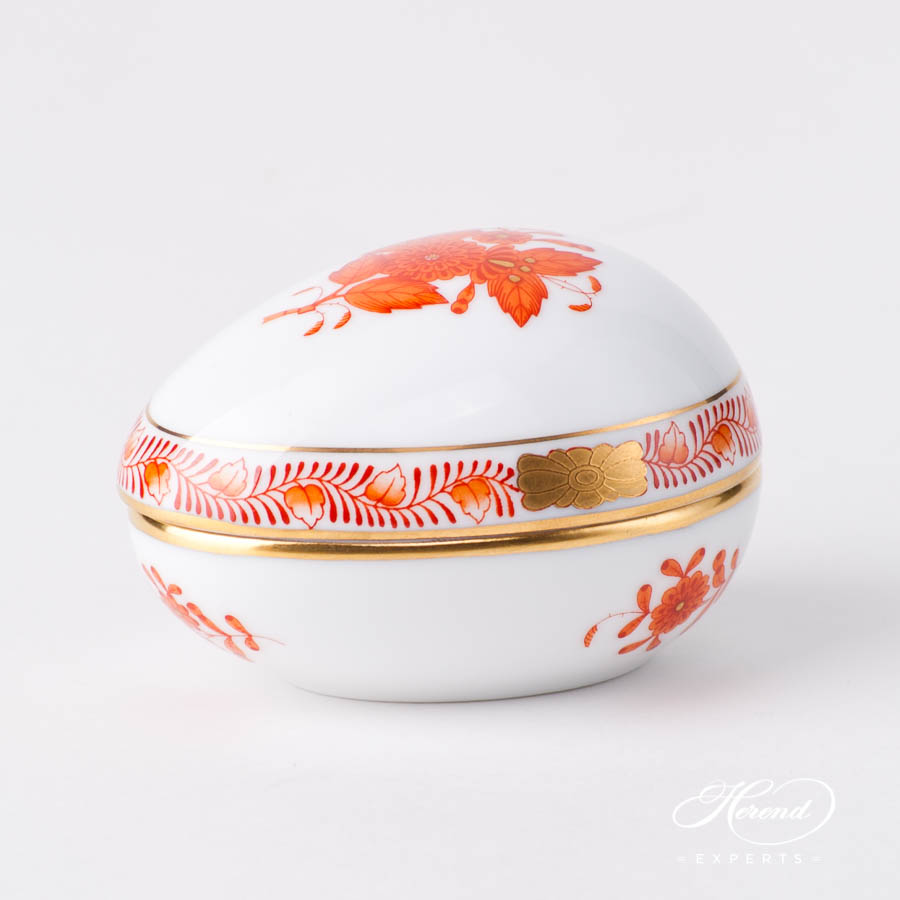 Fancy Box / Candy Jar 6054-0-00 AOG Chinese Bouquet Rust / Apponyi Orange design. Herend fine china