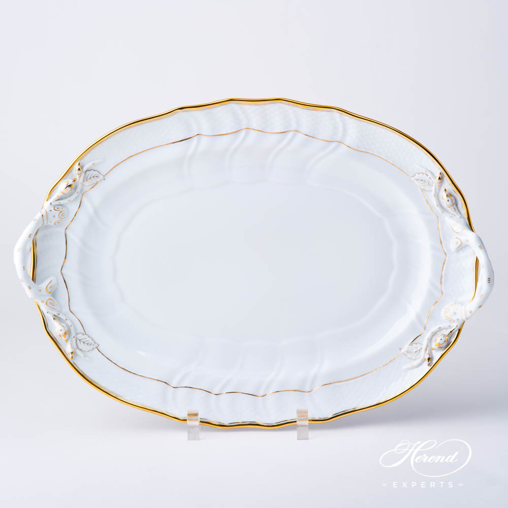 Oval Dish w. Branch Handles 1122-0-00 HD Hadik design. Herend fine china hand painted. Rich Golden Edge. Classical Herend design