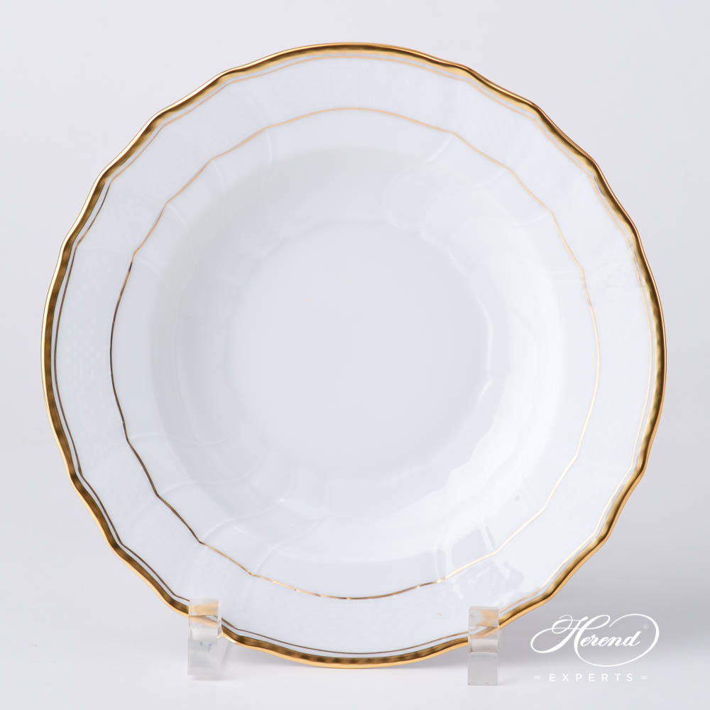 Soup Plate 1504-0-00 HD Hadik design. Herend fine china hand painted. Rich Golden Edge. Classical Herend design