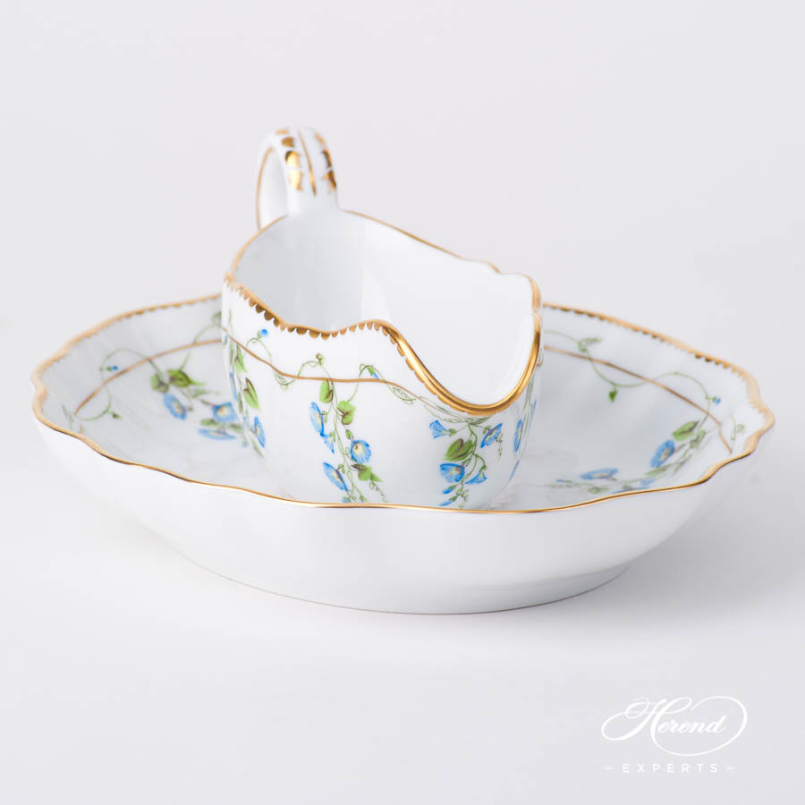 Sauce Boat w. Oval Dish 20218-0-00 NY Nyon / Morning Glory Flower pattern. Herend fine china tableware. Hand painted