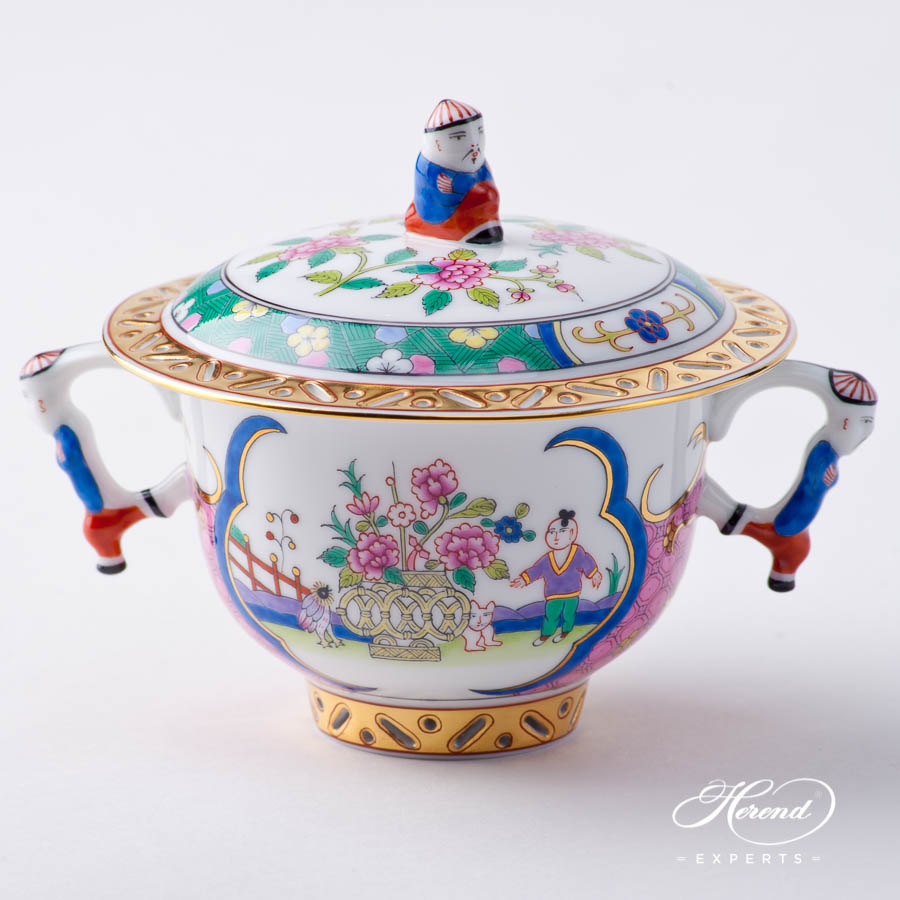 Oriental Cup w. Lid 3353-0-21 EMP Emperor pattern. Herend fine china hand painted. Oriental style Universal Cup