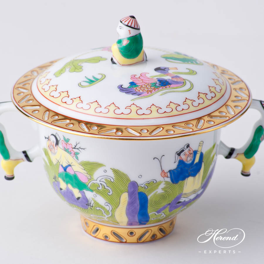 Oriental Cup w. Lid 3353-0-21 IC Immortal Chinese pattern. Herend fine china hand painted. Oriental style Universal Cup