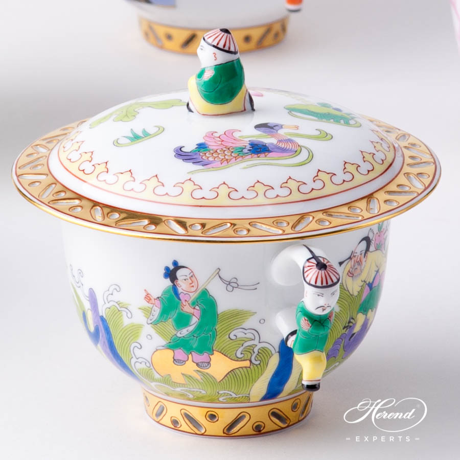 Oriental Cups w. Lid 3353-0-21 - Herend Chinese Scenes patterns. Herend fine china hand painted. Oriental style Universal Cup