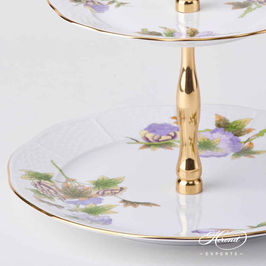 Cake Stand 2 Tier 308-0-92 EVICTF1 Royal Garden Green Flower EVICTF1 design. Herend fine china hand painted. Classic style