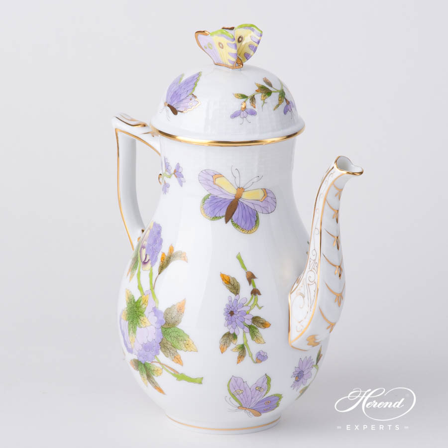 Coffee Pot w. Butterfly Knob 613-0-17 EVICT1 Royal Garden Green Butterfly w. Flower design. Herend fine china hand painted
