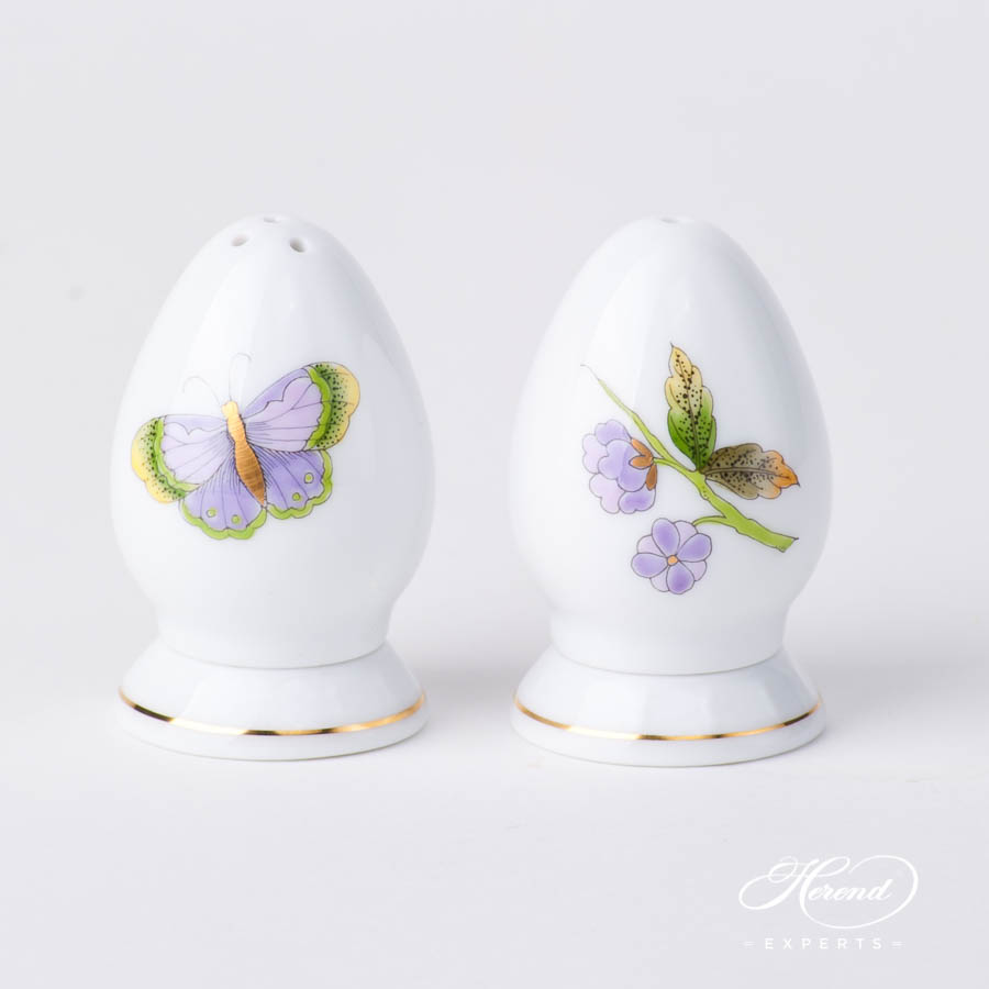 Salt and Pepper Shaker 249-0-00 EVICTP1 Green Butterfly and 250-0-00 EVICTF1 Green Flower - Royal Garden Green designs