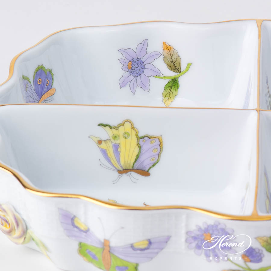 Starter / Appetizer Dish 442-0-00 EVICT1 Royal Garden Green Butterfly w. Flower design. Herend fine china hand painted
