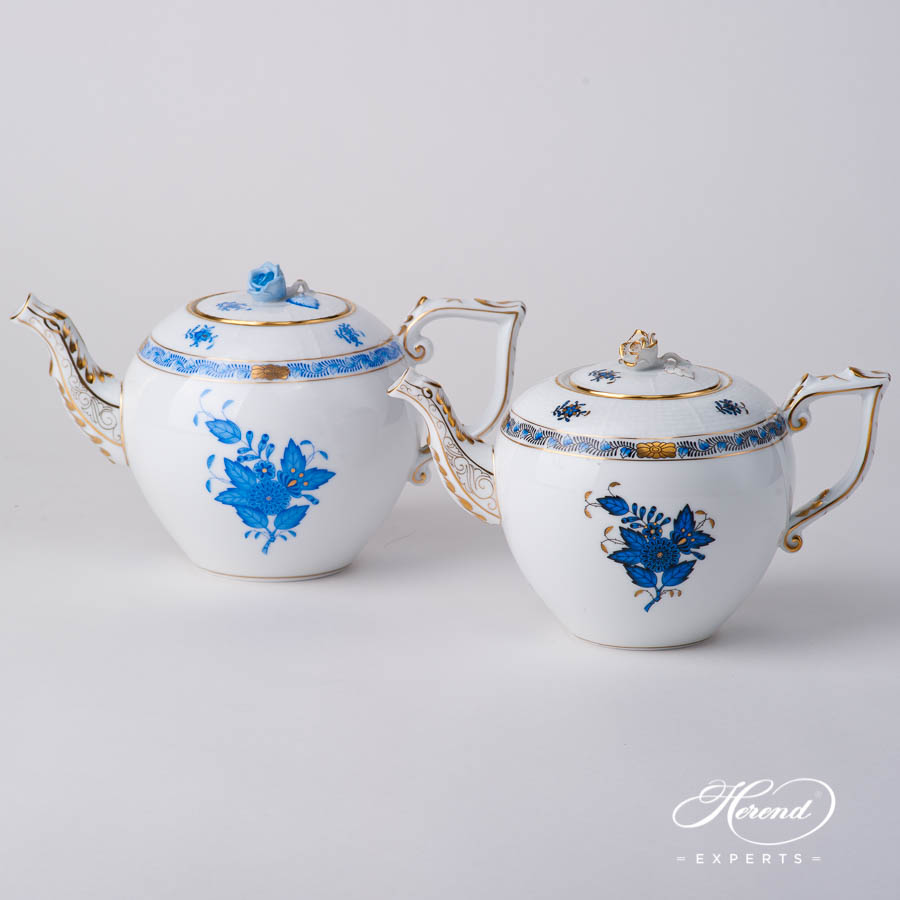 Tea Pot w. Rose Knob - Blue and Navy Blue / Black Sapphire - Herend Chinese Bouquet / Apponyi design. Herend fine china hand painted