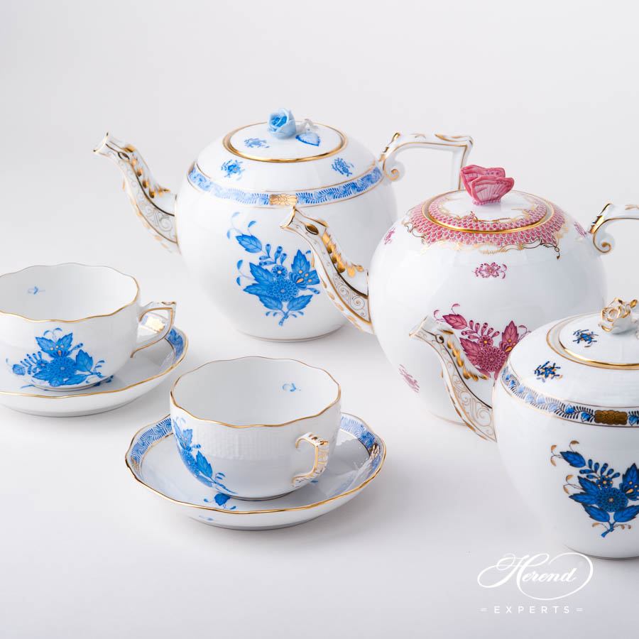 Tea Pot - Blue, Light Purple and Navy Blue / Black Sapphire - Herend Chinese Bouquet / Apponyi design. Herend fine china hand painted