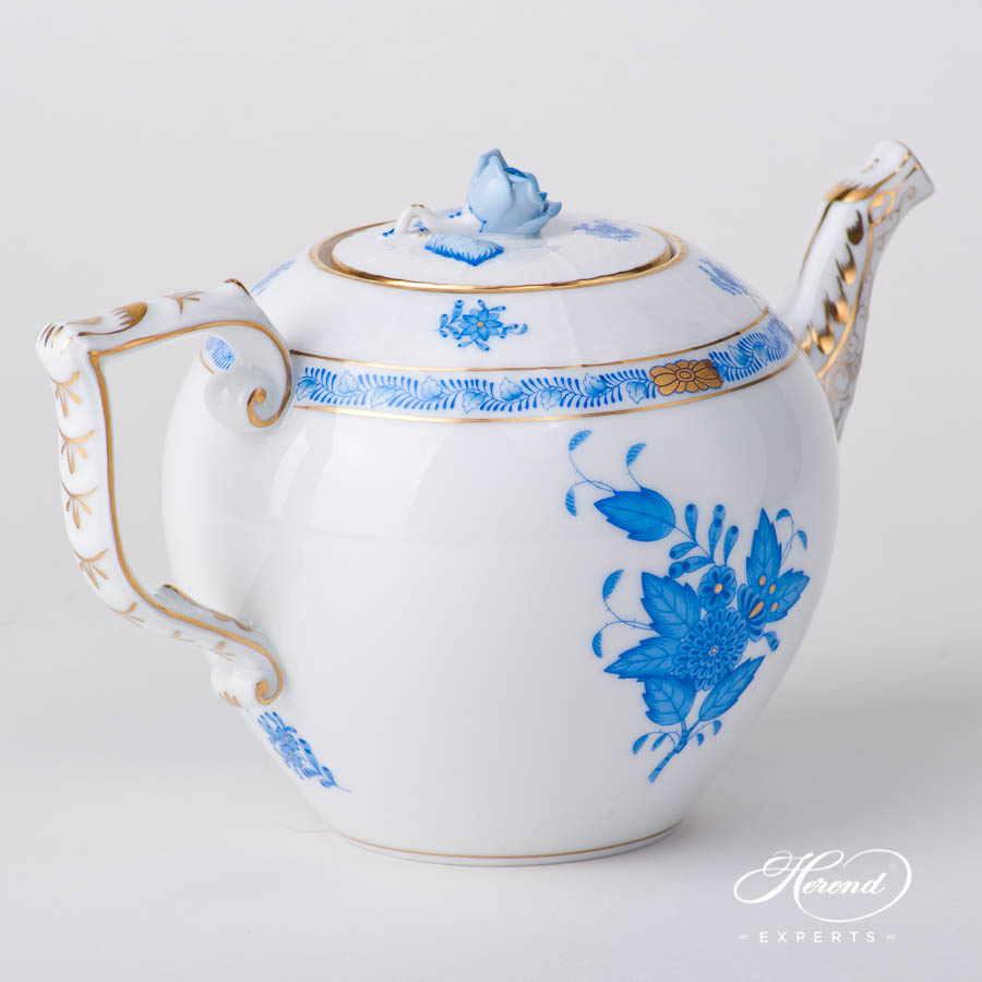 TeaPot w.Rose Knob 605-0-09 AB Chinese Bouquet / Apponyi Bluedesign. Herend fine china hand painted. Classical style tableware