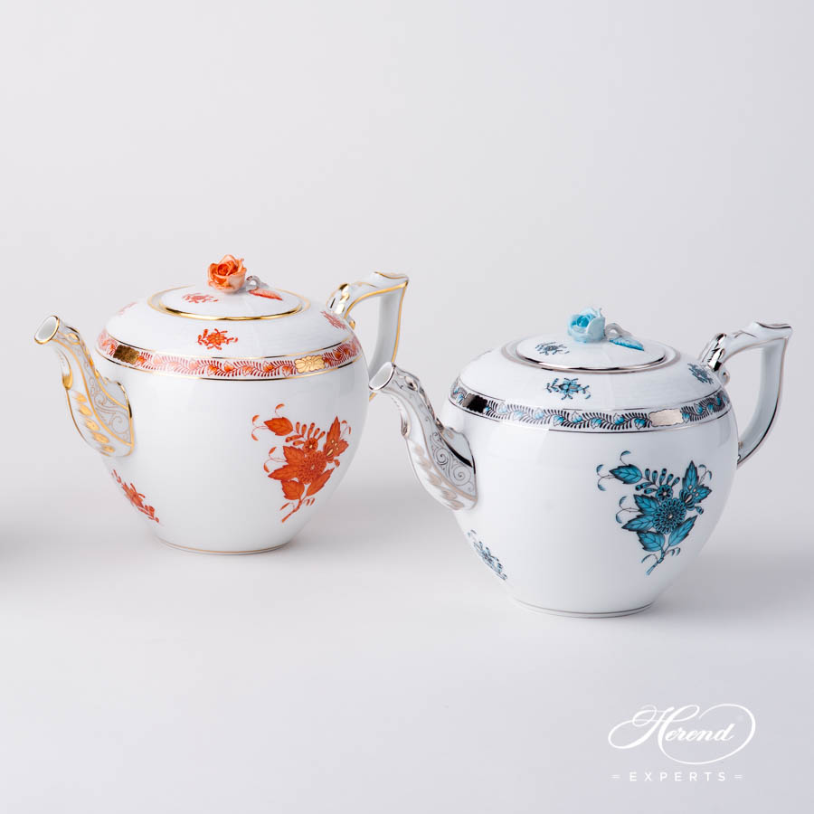 Tea Pot w. Rose Knob 604-0-09 AOG Orange and ATQ3-PT Turquoise Chinese Bouquet / Apponyi design. Herend fine china hand painted