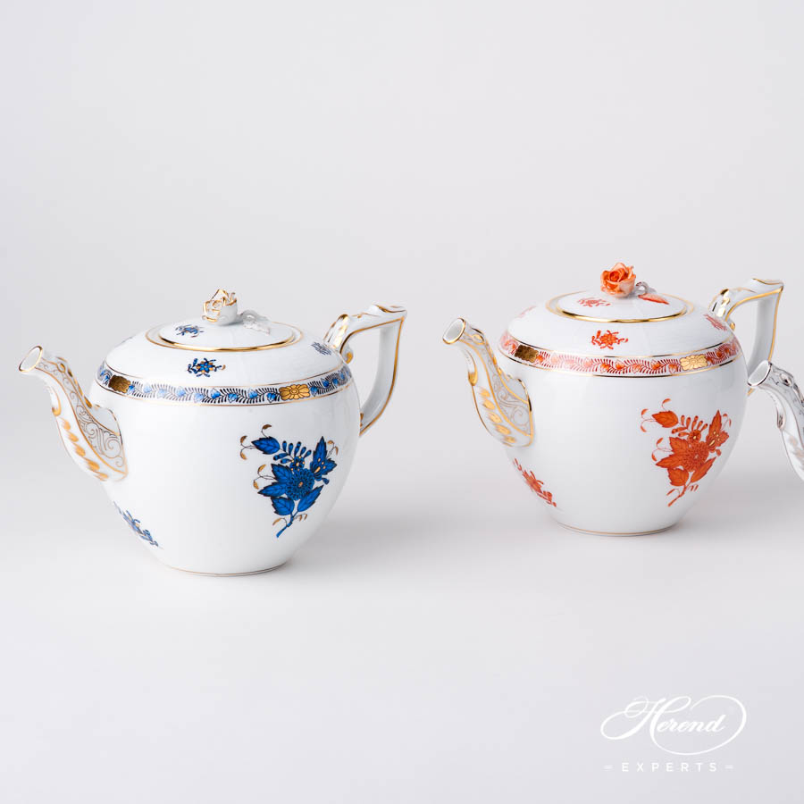 Tea Pot w. Rose Knob 604-0-09 AB3-X1 Navy Blue and AOG Chinese Bouquet / Apponyi design. Herend fine china hand painted