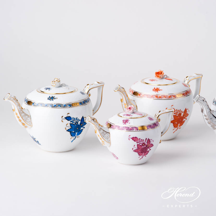 Tea Pot w. Rose Knob - Navy Blue, Orange and Light Purple Chinese Bouquet / Apponyi design. Herend fine china hand painted