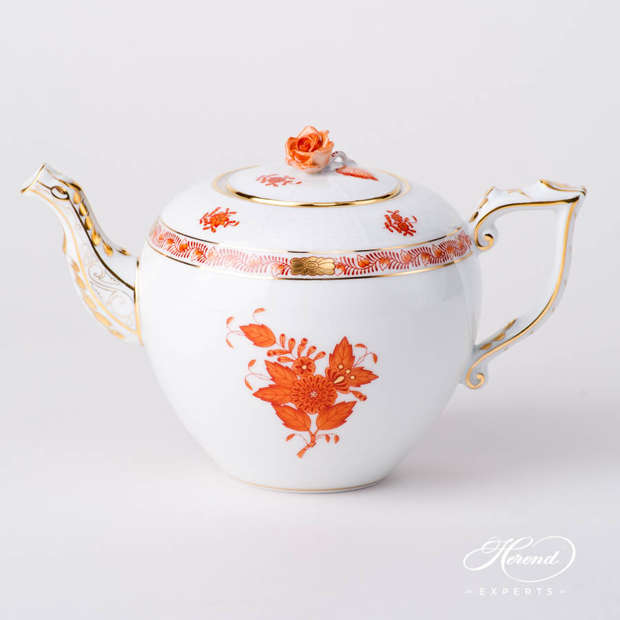 Tea Pot w. Rose Knob 604-0-09 AOG Chinese Bouquet Rust / Apponyi Orange design. Herend fine china hand painted