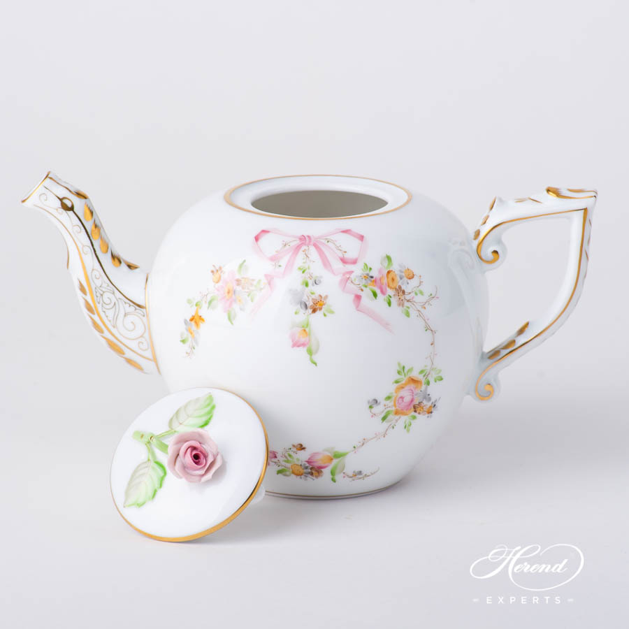 TeaPot w.Rose Knob 20607-0-09 EDENP Eden Pink pattern. Herend fine china hand painted. Classical style tableware