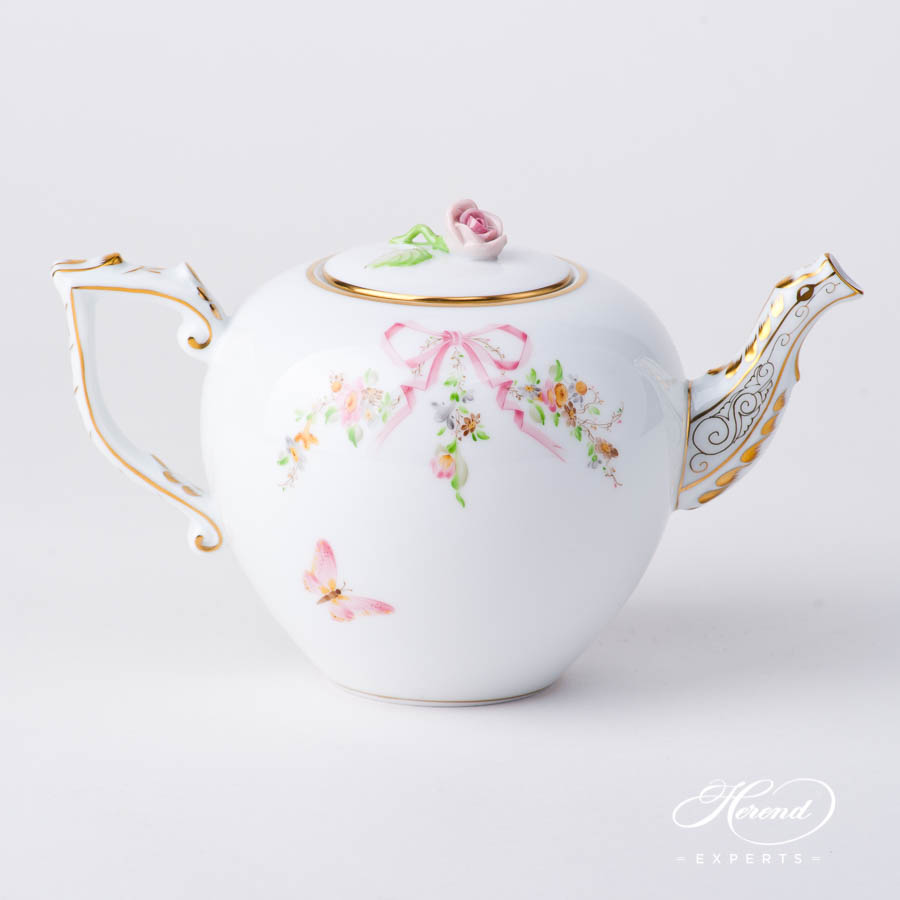 Mini Tea Pot w. Rose Knob 20608-0-09 EDENP Eden Pink pattern. Herend fine china hand painted. Classical style tableware