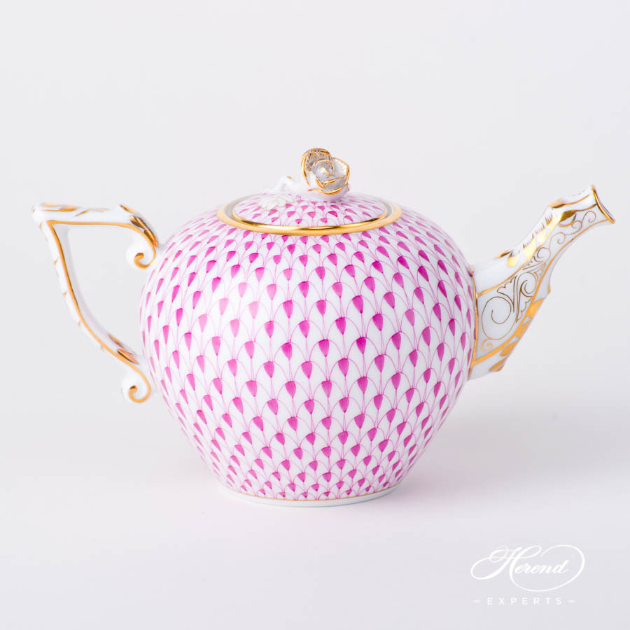 Miniature Tea Pot w. Rose Knob 608-0-09 VHP Purple Fish Scale pattern. Herend fine china hand painted. Modern style tableware