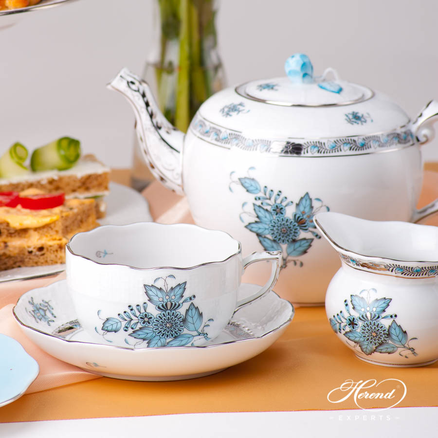 Tea Set for 2 Persons w. Cake Stand 3 Tier - Herend Chinese Bouquet Turquoise / Apponyi Turquoise ATQ3-PT pattern. Herend fine china hand painted. Classical style tableware