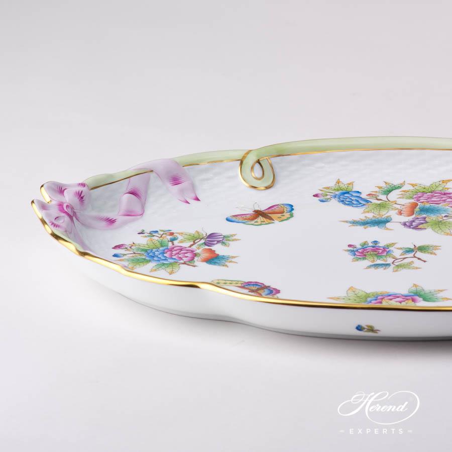 Tray w. Ribbon 400-0-00 VBO Queen Victoria design. Herend fine china tableware. Hand painted