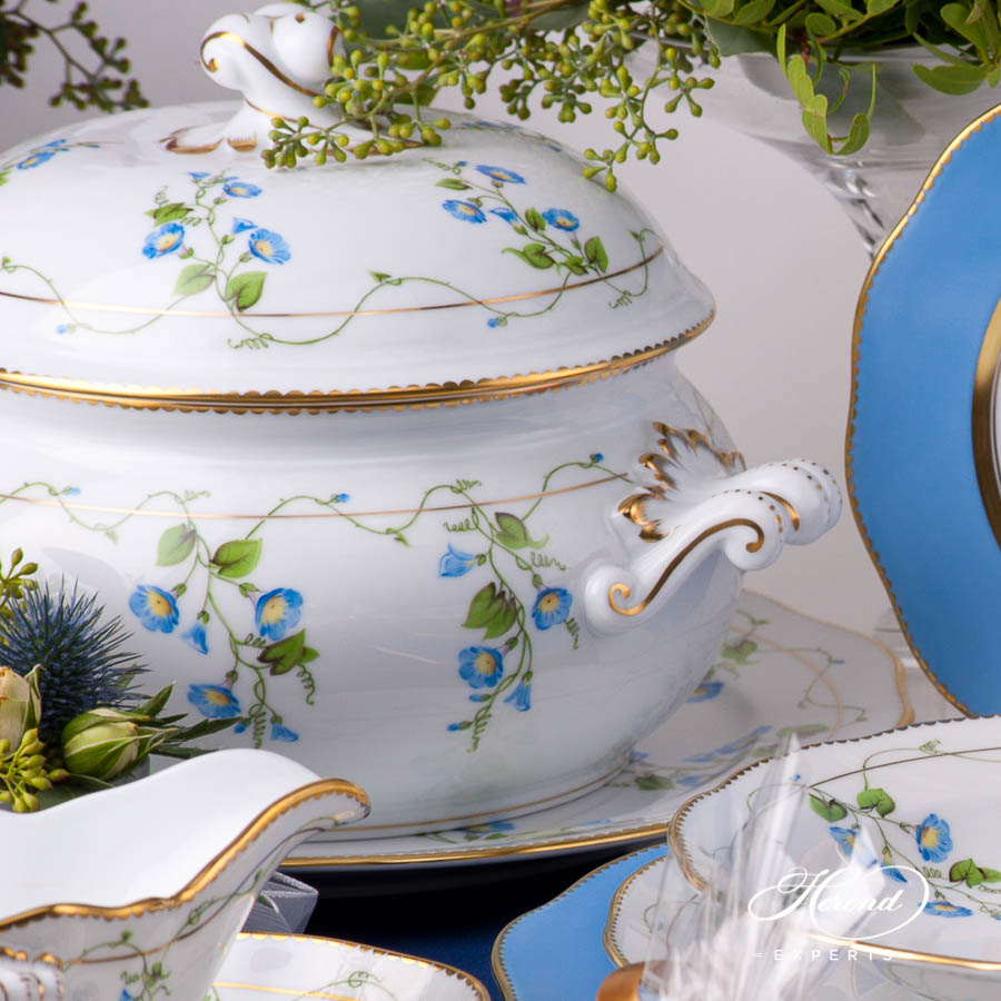 Dinner Set for 4 Persons - Herend Nyon / Morning Glory Flower design. Herend fine china dinnerware. Hand painted