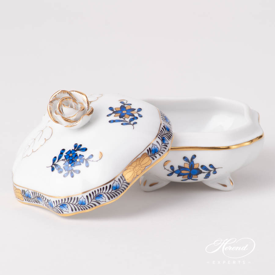 Fancy Box w. Rose Knob 6179-0-09 AB3-X1 Chinese Bouquet / Apponyi Navy Blue pattern. Herend fine china