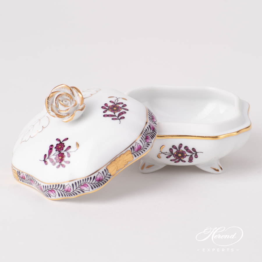 Fancy Box w. Rose Knob 6179-0-09 AP3-X1 Chinese Bouquet / Apponyi Burgundy pattern. Herend fine china