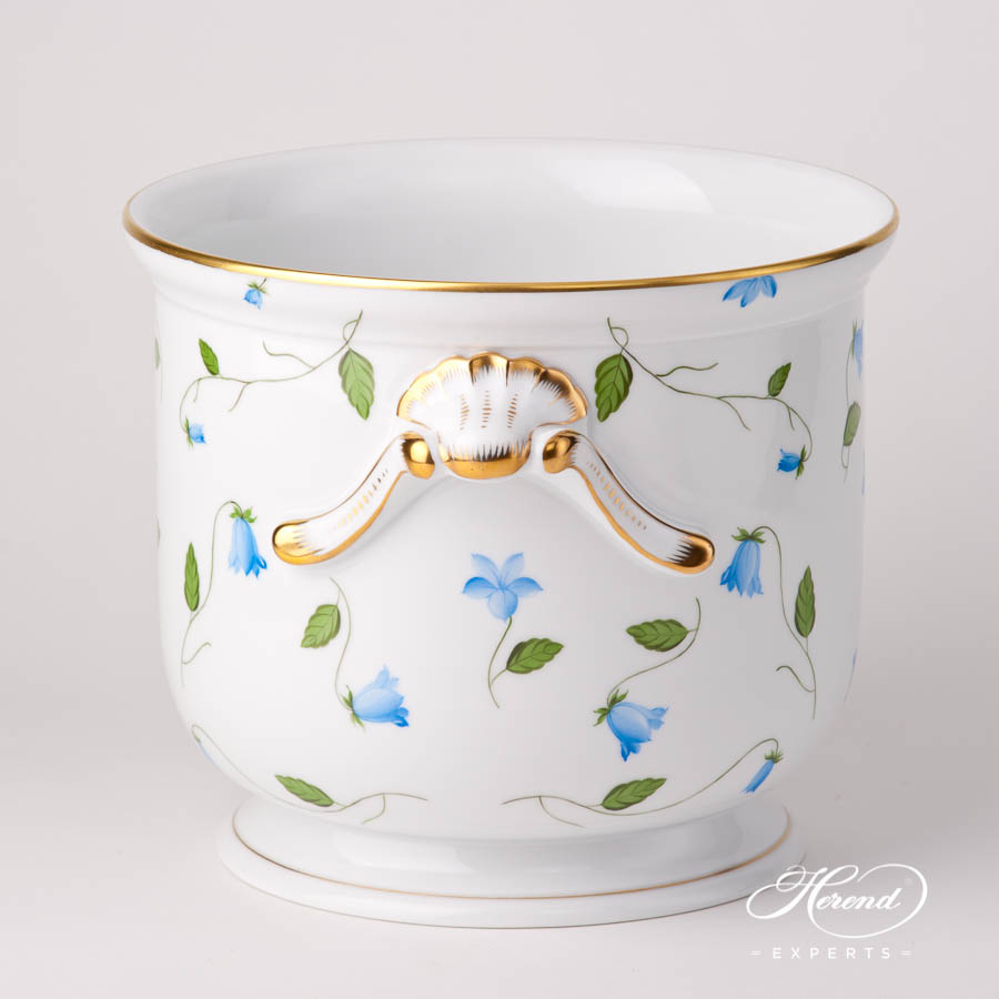 Flower Pot / Vase 7211-0-06 CMU Bluebell / Campanula Blue pattern. Herend fine china hand painted. Modern style. Large ornaments