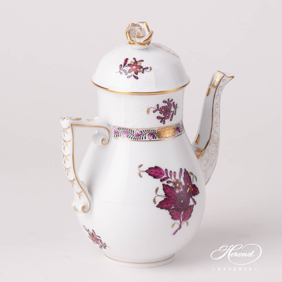 Coffee / Espresso Pot w. Rose Knob 615-0-09 AP3-X1 Chinese Bouquet / Apponyi Burgundy design. Herend fine china