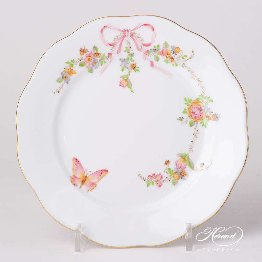 Dessert Plate 20517-0-00 EDENP Eden Pink pattern. Herend fine china hand painted. Classical and Luxury style tableware
