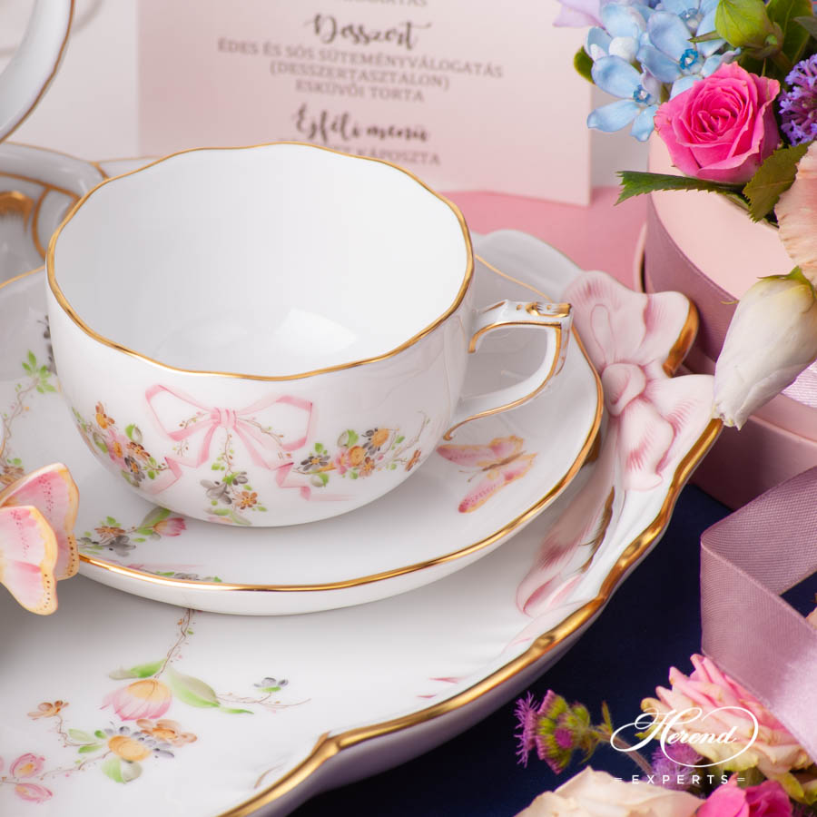 Tea Set for 2 Persons - Herend Eden Pink EDENP design. Herend fine china hand painted. Classic Herend Flower pattern