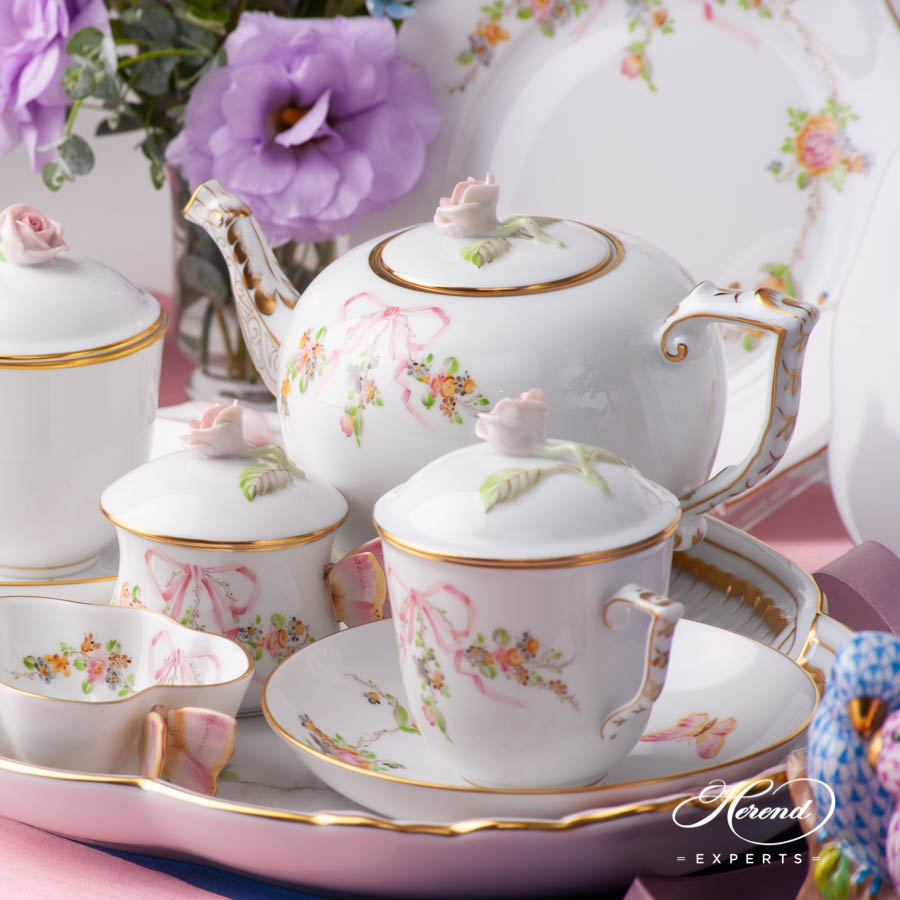 Tea Set for 2 Persons w. Special Cup - Herend Eden Pink EDENP design. Herend fine china hand painted. Classic Herend Flower pattern