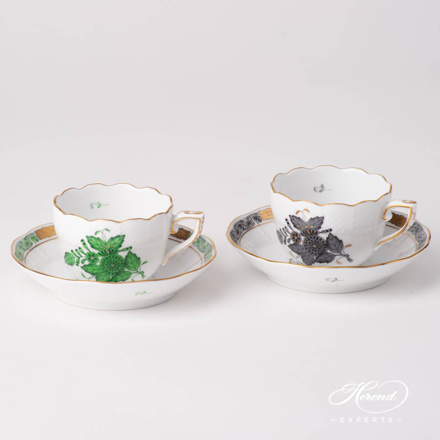 Coffee / Espresso Cup w. Saucer 711-0-00 ANG Chinese Bouquet / Apponyi Black design. Herend fine china