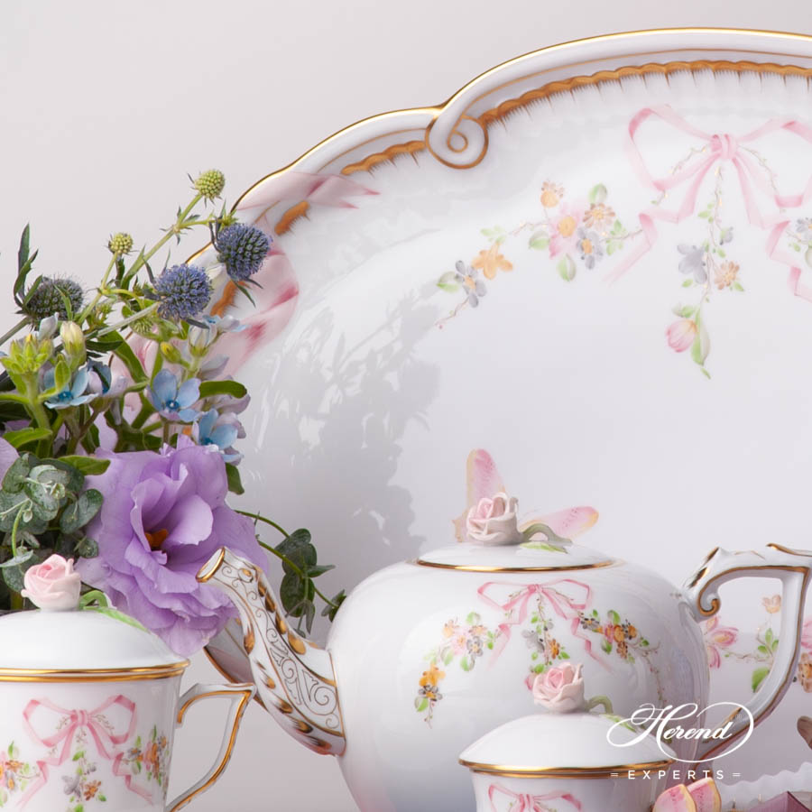 Tray w. Ribbon2400-0-00 EDENP Eden Pink pattern. Herend fine china hand painted. Classical and Luxury style tableware