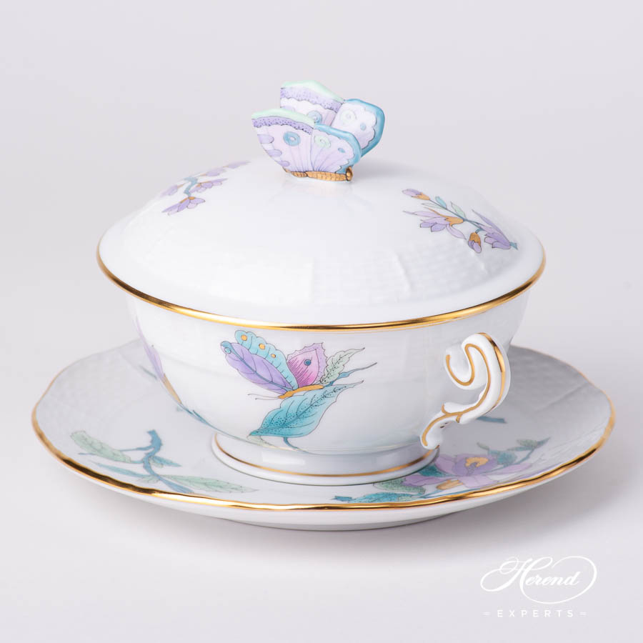 Soup Cup and Lid w. Saucer 744-0-17 EVICTF2 Royal Garden Turquoise Flower pattern. Herend fine china hand painted