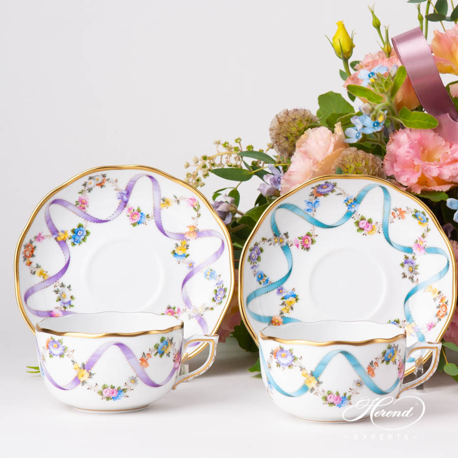 Tea Cup w. Saucer 20724-0-00 FLR-X1 Lilac and FLR Blue Flower Garland w. Ribbon patterns. Herend fine china hand painted. Classical style tableware