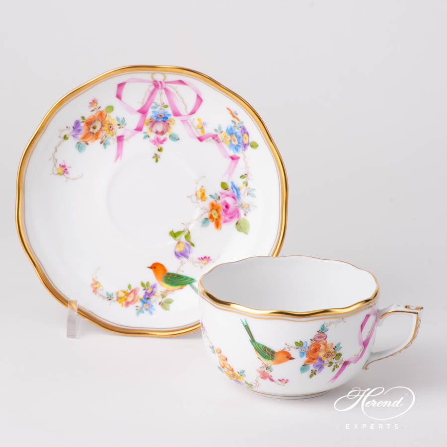 Tea Cup w. Saucer 20724-0-00 JM Mediterranean Garden pattern. Herend fine china hand painted. Classic style tableware