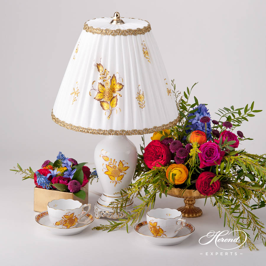 SmallLampw.Silk Shade 6739-9-00 AJ Chinese Bouquet / Apponyi Yellow design. Herend hand painted fine china. Table Lamp