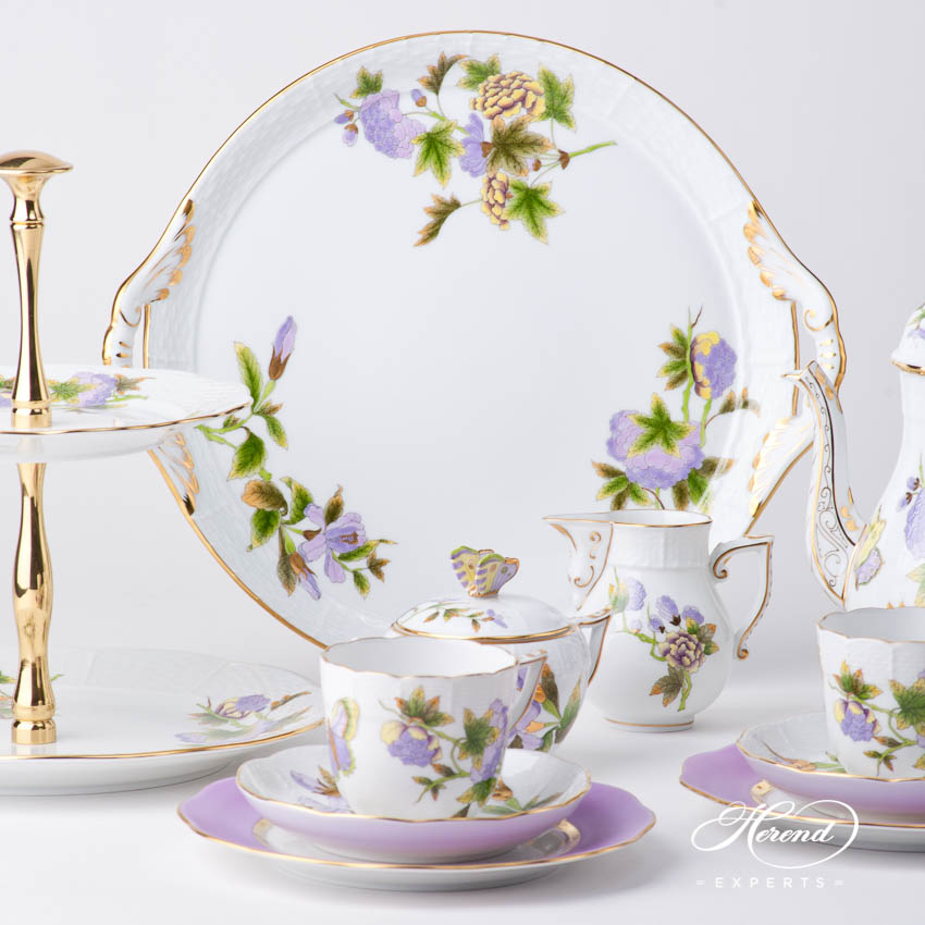 Coffee Set for 2 Persons w. Cake Plate - Herend Royal Garden Green EVICT1 and EVICTF1 patterns. Herend fine china tableware