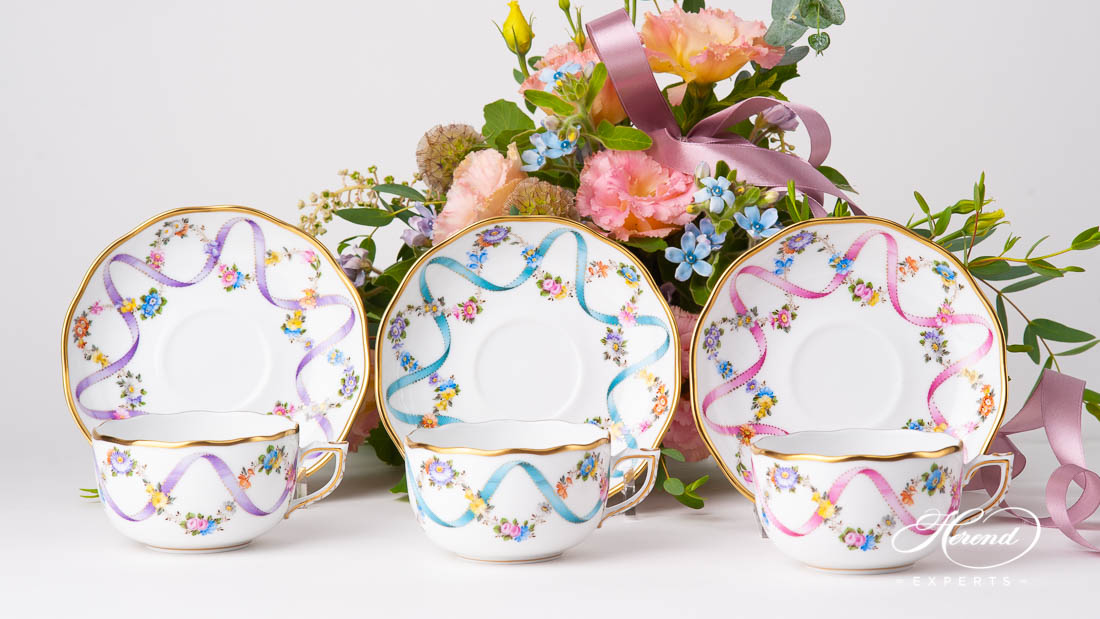 Herend Flower Garland tea cups with Ribbon decor - click for more Herend Tea cups.