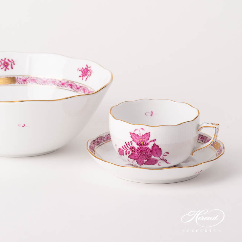 Bowl 360-0-00 AP Chinese Bouquet Raspberry / Apponyi Purple design. Herend fine china