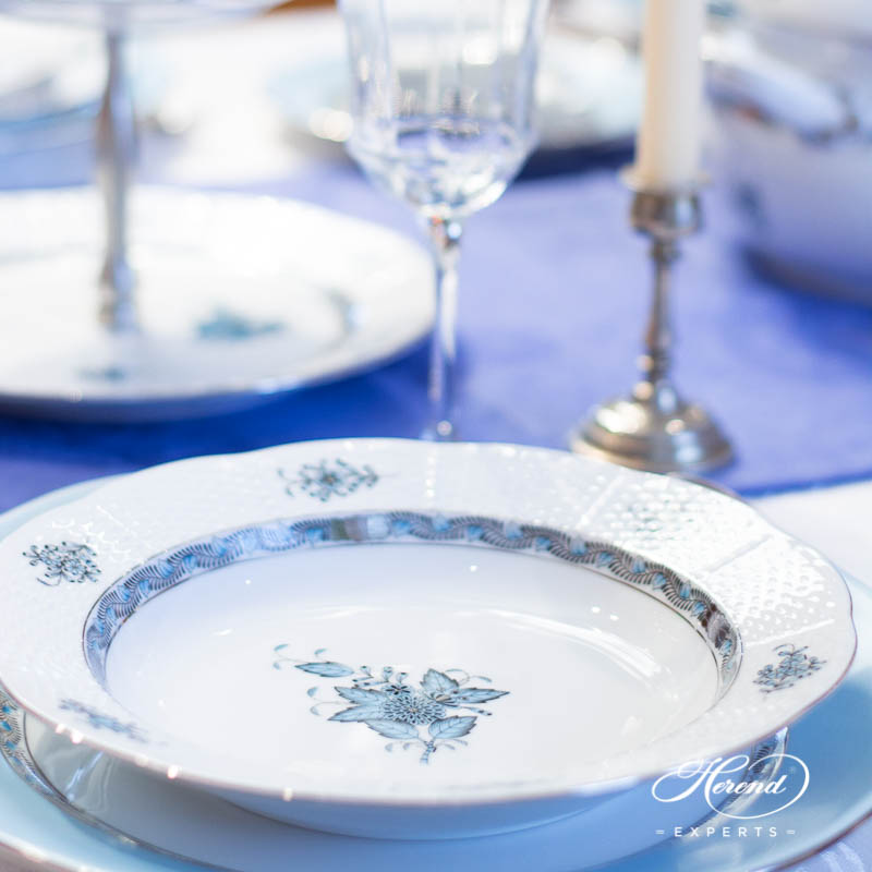Dinner Set for 6 People - Herend Chinese Bouquet / Apponyi Turquoise w. Platinum ATQ3-PT design. Herend fine china