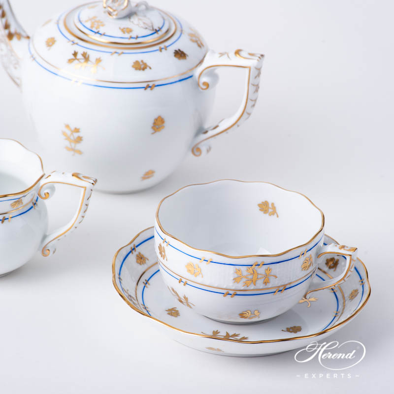 Tea Set for 2 Person - Herend Batthyany Blue BAT design. Herend fine china